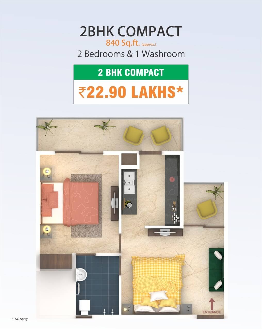 2 BHK Compact Flats in Mohali @22.90 Lakhs - 840 Sq.Ft.