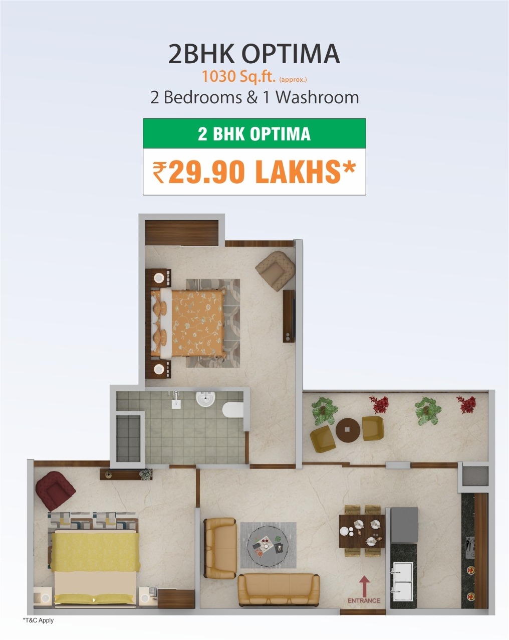 2 BHK Optima Flats in Mohali @29.90 Lakhs - 1030 Sq.Ft.