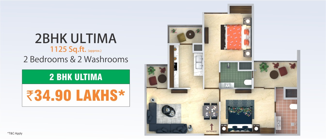 2 BHK Ultima Interior Concept - 1125 Sq.Ft.
